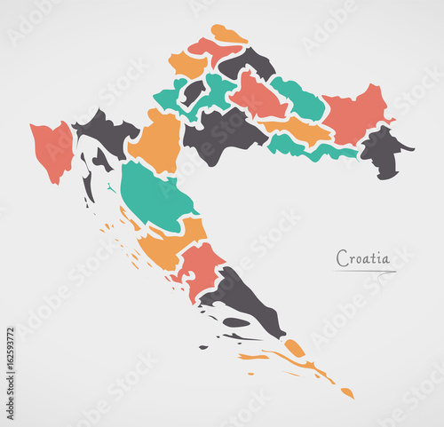 Wallpaper Mural Croatia Map with states and modern round shapes