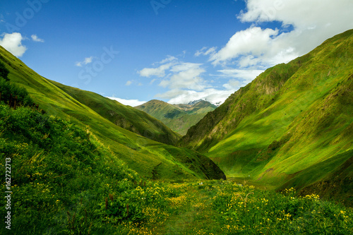 Fotografie, Obraz The green Caucasian valley in summer looks like Alps