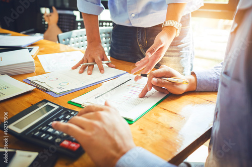 Photo Annual meeting of business colleagues company provides statistical reports on operations such as sales, expenses and profits of companies in concession terms of the government