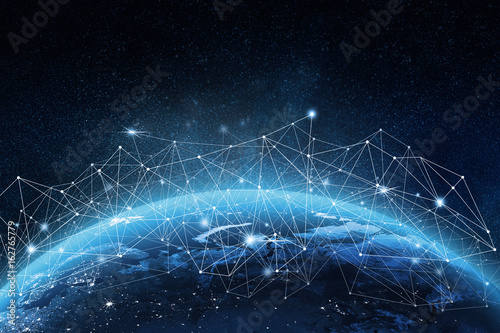 Global network on Earth concept. 3D rendering elements of this image furnished by NASA