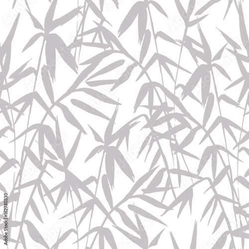 Bamboo tree silhouette seamless pattern on white background in japanese style, black and white japanese design, vector illustration for fabric textile design
