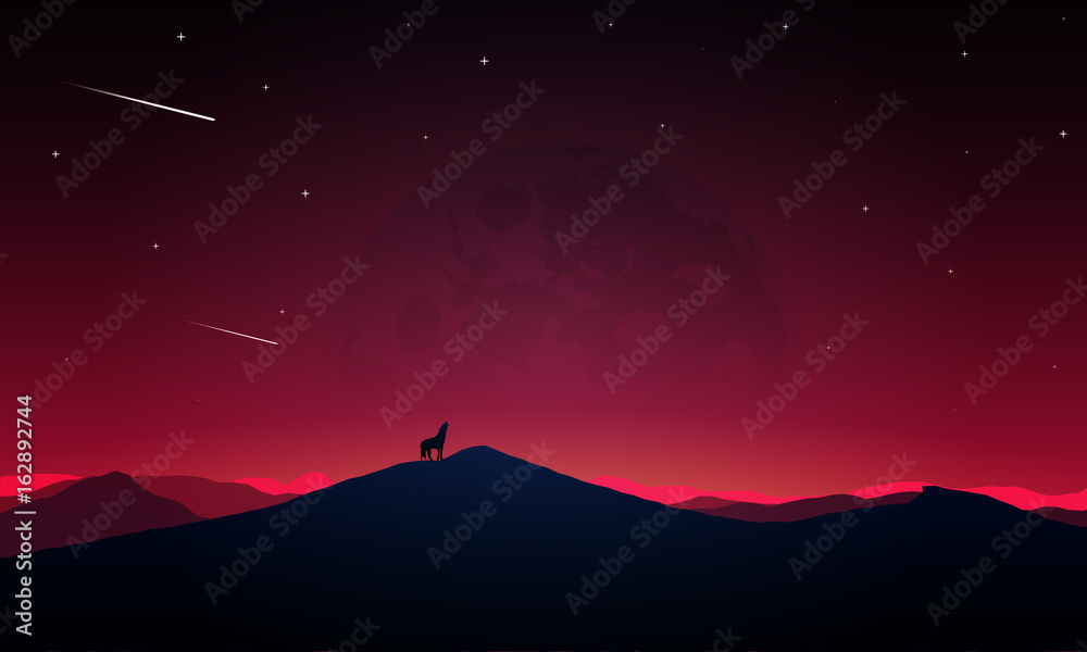 Night scenery of the howling wolf to the moon <span>plik: #162892744   autor: kraft2727</span>