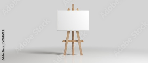 Fotografia Wooden Brown Sienna Easel with Mock Up Empty Blank Canvas Isolated on Background