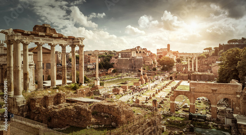 Vászonkép Panoramic view of Roman Forum, Rome, Italy