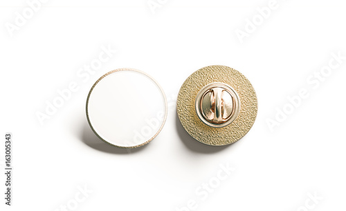 Valokuva Blank white round gold lapel badge mock up, front and back side view, 3d rendering