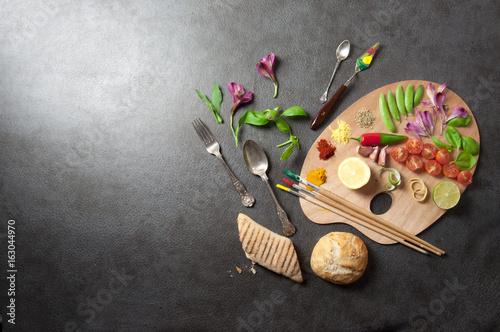 Fresh seasoning food palette concept