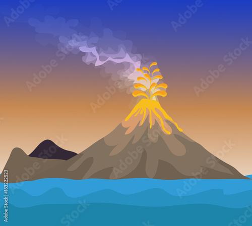 Vector - Volcano eruption with hot lava illustration Fototapete