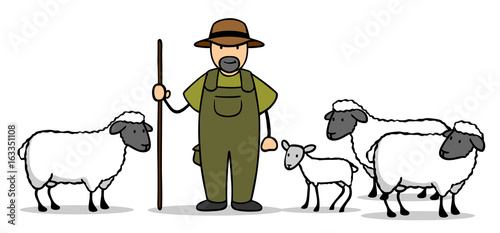 Stampa su Tela Cartoon Schäfer mit Schafen und Lamm