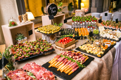 Canvas Print Spanish tapas bar with many delicious food appetizer.