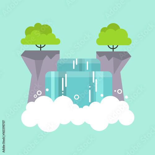 Beautiful flat waterfall landscape. Nature. Tourism / flat editable vector illustration, clip art