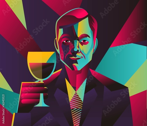 cubist man tasting a cup of wine
