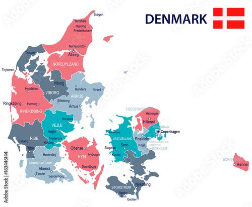 Foto Denmark - map and flag illustration