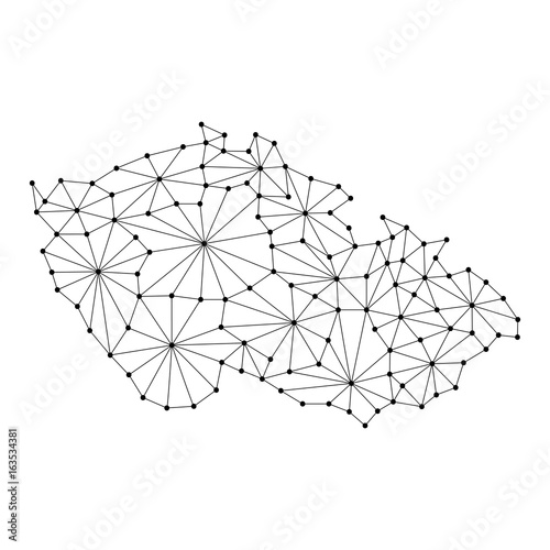 Canvas Print Czech Republic map of polygonal mosaic lines network, rays and dots vector illustration