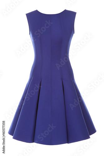 Billede på lærred Little blue dress with rhinestones isolated on white