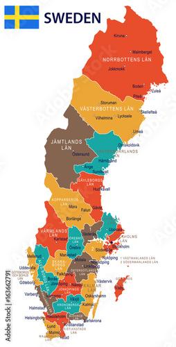 Photo Sweden - map and flag illustration