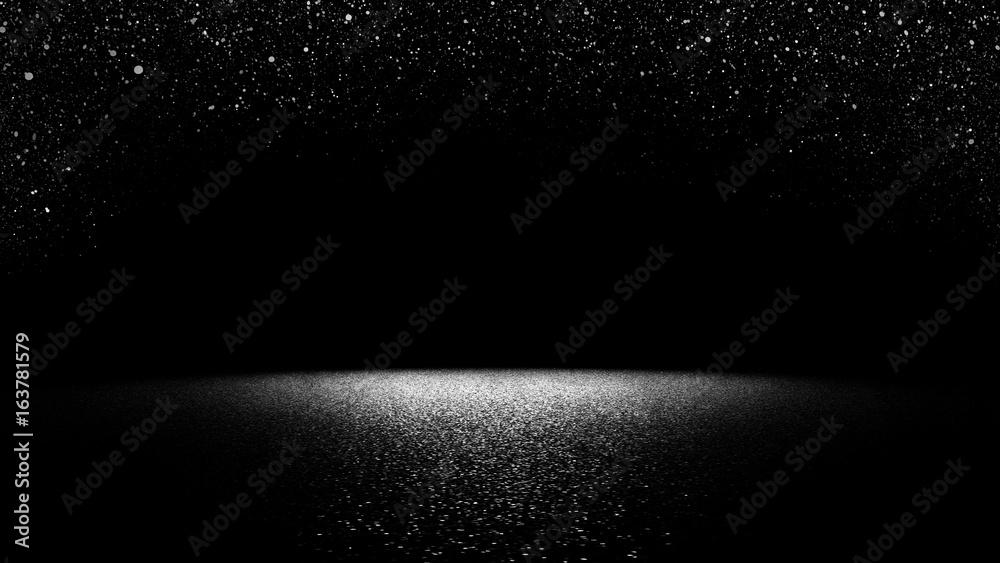 migoczący blask opadający na płaskiej powierzchni oświetlony jasnym światłem reflektorów (eleganckie czarno-białe tło sceny) <span>plik: #163781579 | autor: dottedyeti</span>