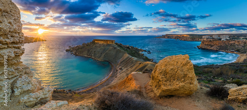 Stampa su Tela Mgarr, Malta - Panorama of Gnejna bay and Golden Bay, the two most beautiful bea