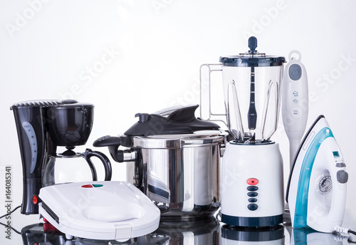Household appliances  on a neutral background