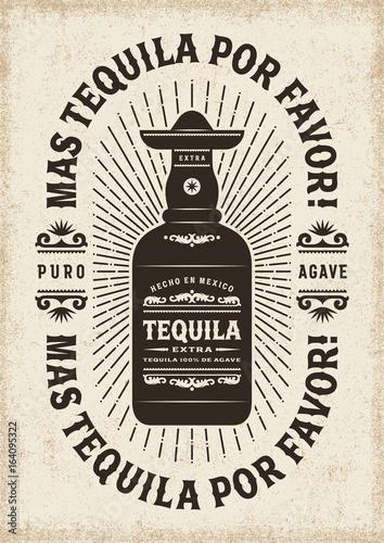 Obraz na płótnie Vintage Mas Tequila Por Favor (More Tequila Please) Typography