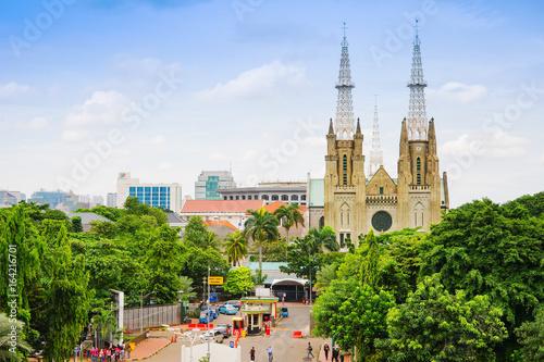 Jakarta, Santa Ursula christian cathedral, Indonesia city view.