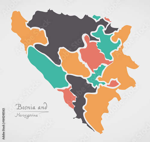 Photo Bosnia and Herzegovina Map with states and modern round shapes