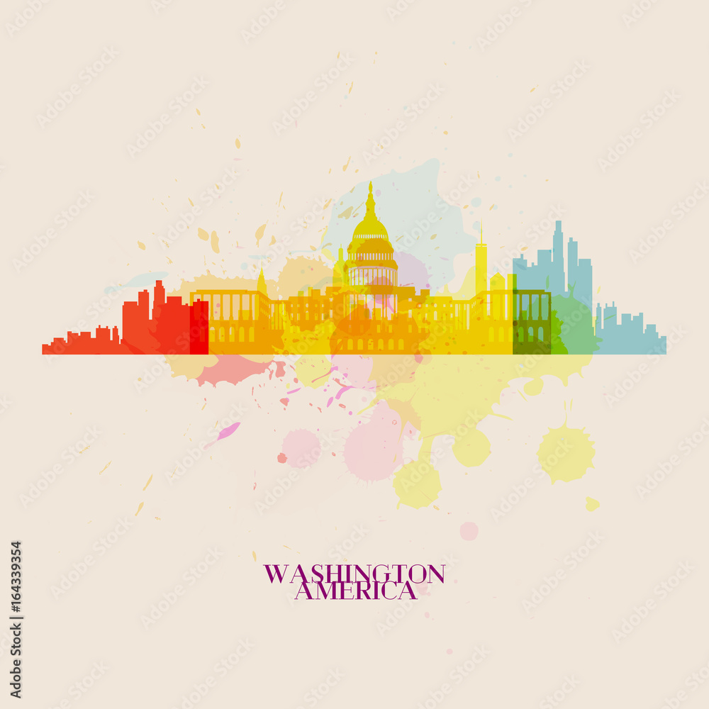 WASZYNGTON Wektorowe sylwetki miasta <span>plik: #164339354   autor: suriya_aof9</span>