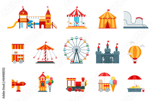 Foto Amusement park vector flat elements, fun icons, isolated on white background with ferris wheel, castle, attractions, circus, air balloon, swings, carousel