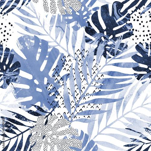 Plakat w stylu minimalistycznym z modnym wzorem roślin tropikalnych