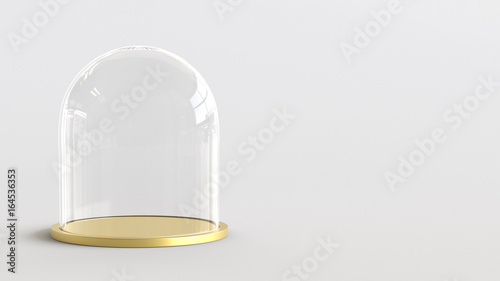 Fotografia Glass dome with golden tray on white background. 3D rendering.