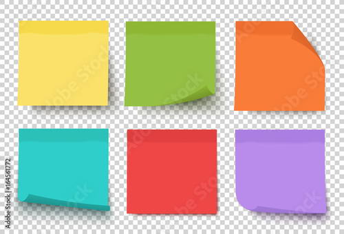Multicolor post it notes isolated on transparent background Fototapeta