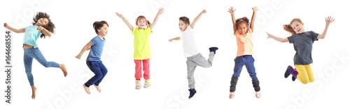 Fotografie, Obraz Collage of jumping schoolchildren on white background