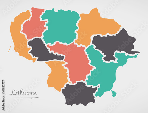 Lithuania Map with states and modern round shapes Fototapeta
