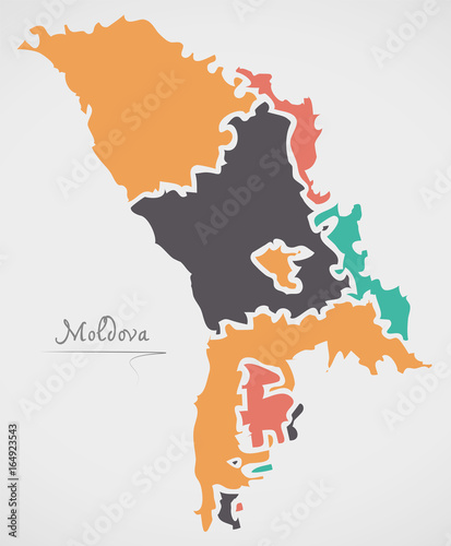 Canvas Print Moldova Map with states and modern round shapes