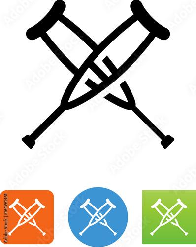 Fotografering Crutches Icon - Illustration