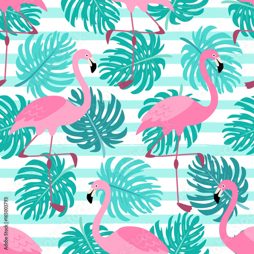 Photo Cute exotic tropical seamless background with cartoon characters of pink flaming
