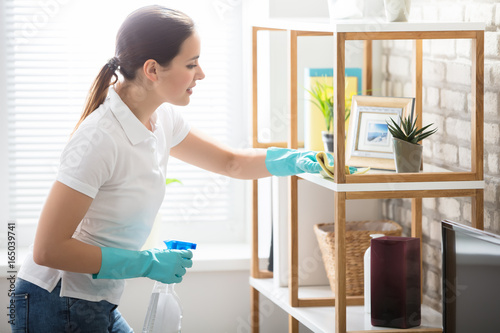Young Woman Cleaning The Shelf In House