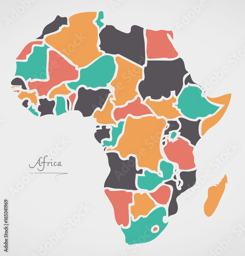 Canvas Print Africa Continent Map with states and modern round shapes