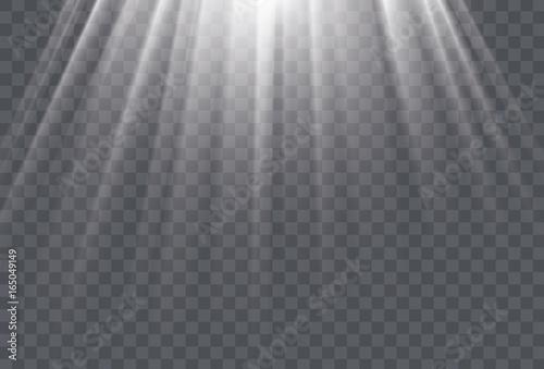 Obraz na płótnie White sun rays and glow light effect on transparent background