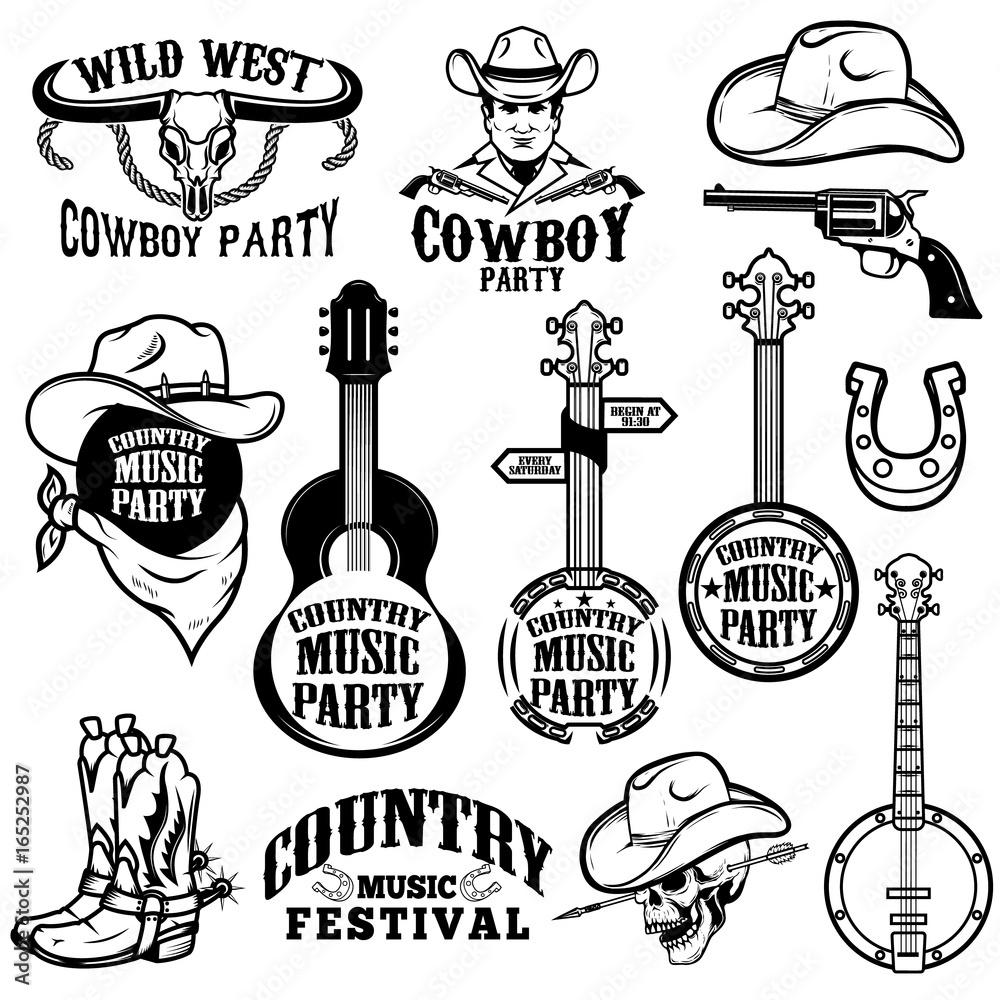 Zestaw emblematów i elementów projektu festiwalu muzyki country. Kowbojska impreza. Ilustracji wektorowych <span>plik: #165252987 | autor: liubov</span>