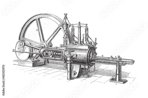 Fotografie, Obraz Old steam machine - vintage illustration