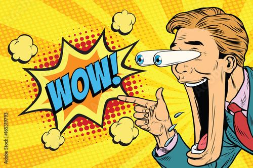 Hyper expressive reaction cartoon wow man face, big eyes and wid