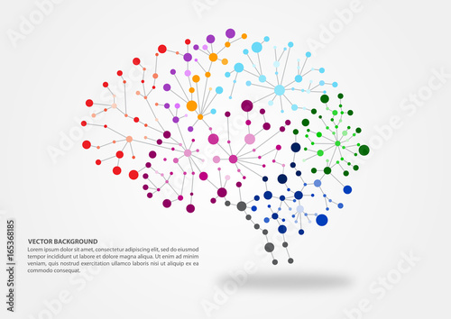Foto Colorful brain mapping concept in vector illustration