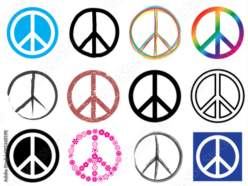 Cuadros en Lienzo peace symbol icon set