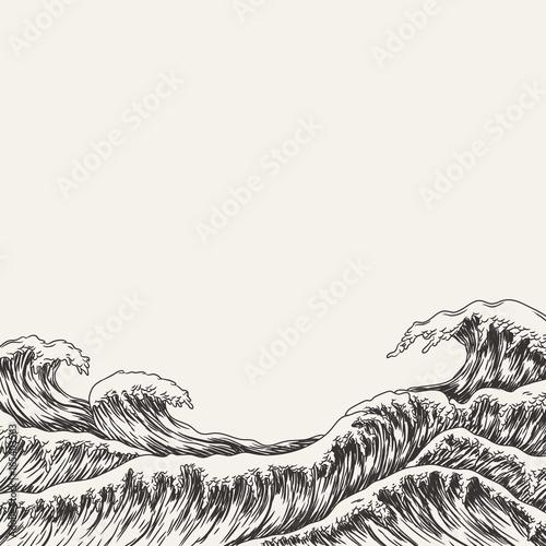 Cuadros en Lienzo Hand drawn wave. Vector illustration