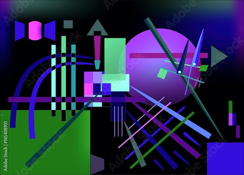 Abstract   dark blue  background ,inspired by the  painter kandinsky