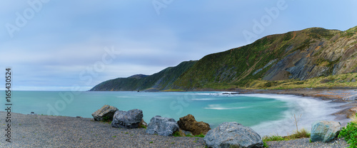 Panoramic image of Te Kopahou Reserve is located at Owhiro Bay where people can enjoy walking , cycling and also driving 4WD vehicles along the coast, Wellington , North Island of New Zealand