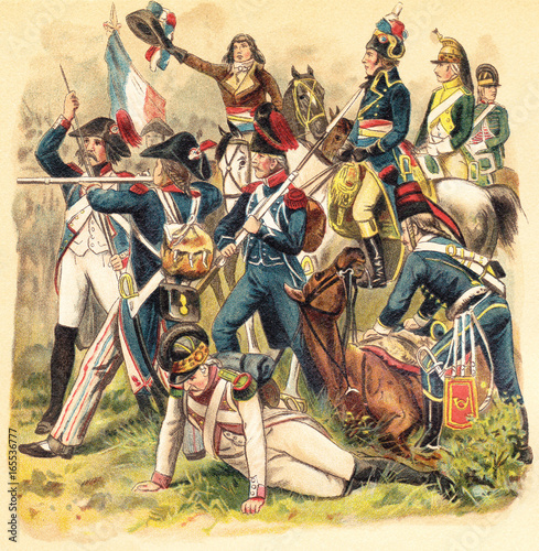 Historical military uniforms from France - 1789-1799 (French Revolution) / vinta Fototapet