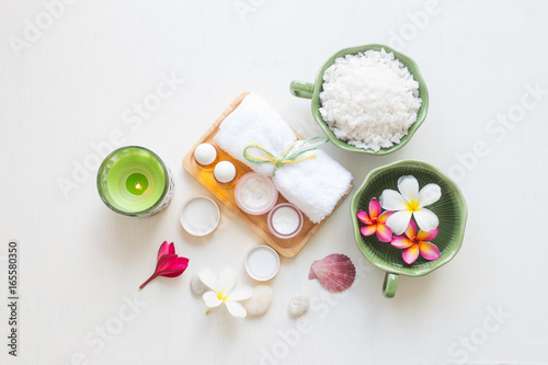 Spa set on white wooden board background, Beauty and fashion concept, top view , flat lay
