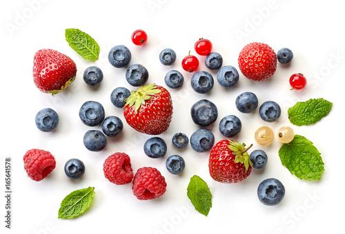various fresh berries on white background