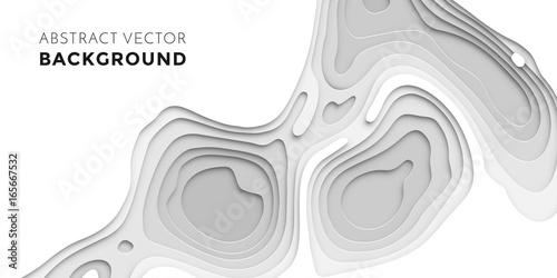 Cuadros en Lienzo 3D papercut layers, paper cut vector art background banner texture website templ
